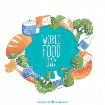 Fundo do dia do alimento mundial em uma aguarela