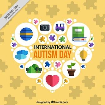 Fundo do dia do autismo Coração em design plano