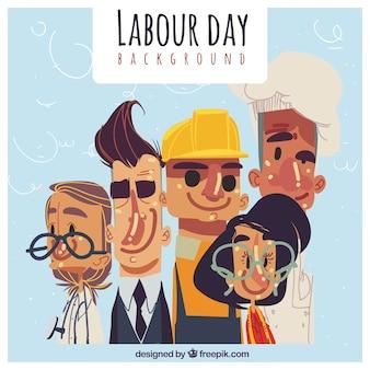 Fundo do dia do trabalhador com povos desenhados mão
