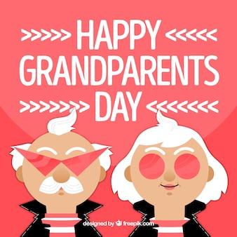 Fundo do dia dos avós felizes com personagens de rocker