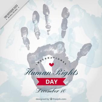 Fundo do dia dos direitos humanos com a mão no estilo da aguarela
