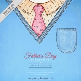 Fundo do dia mão do pai pintado com uma camisa e gravata