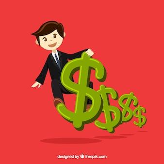 Fundo do dinheiro com símbolos homem de negócios e dólar