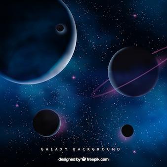 Fundo do espaço com planetas