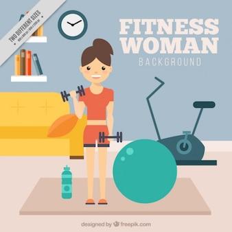 Fundo do exercício da mulher em casa
