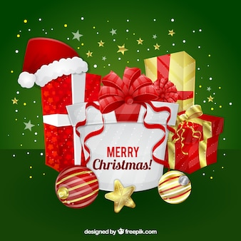 Fundo do Feliz Natal com presentes e estrelas