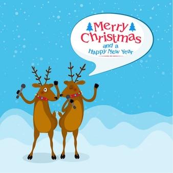 Fundo do Feliz Natal com renas cantando
