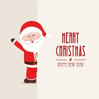Fundo do Feliz Natal com um Papai Noel de sorriso