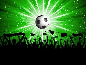 Fundo do futebol com bandeiras multidão segurando e bandeiras