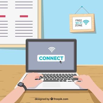 Fundo do laptop conectado à Internet