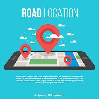 Fundo do mapa de estrada com um smartphone e três marcos