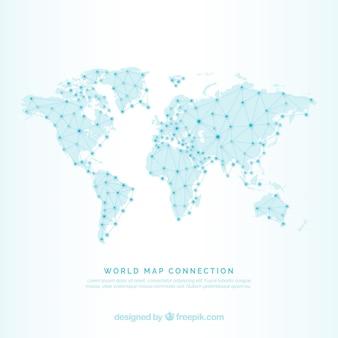 Fundo do mapa do mundo com linhas e pontos