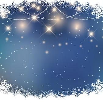 Fundo do Natal com flocos de neve e luzes