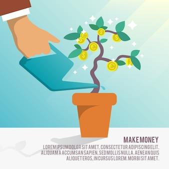 Fundo do negócio com árvore e moedas