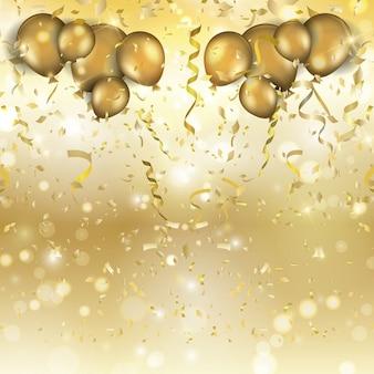 Fundo do ouro com balões confetes e serpentinas