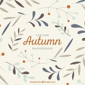 Fundo do outono do vintage com folhas desenhadas mão