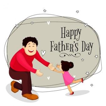 Fundo do pai feliz com sua filha para celebrar o dia de pai
