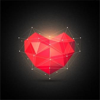Fundo do preto do Valentim com coração poligonal