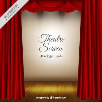 Fundo do teatro realista com cortinas vermelhas