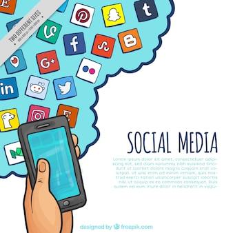Fundo do telefone móvel com a mão ícones rede social desenhada