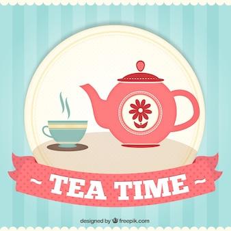 Fundo do tempo de chá bonito