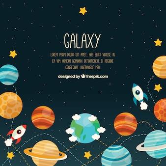Fundo do universo com planetas e foguetes