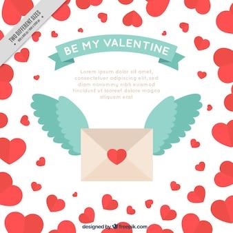 Fundo do Valentim do envelope com asas
