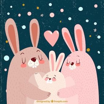 Fundo do vintage de coelhos bonitos para o dia da família