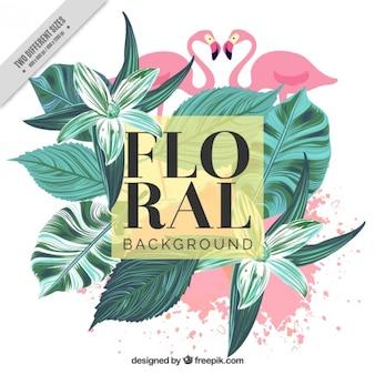 Fundo do vintage de folhas de palmeira pintados à mão e flamingos