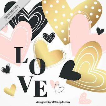 Fundo dos corações do Valentim com detalhes dourados