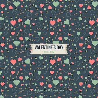 Fundo dos Valentim dos corações com formas geométricas