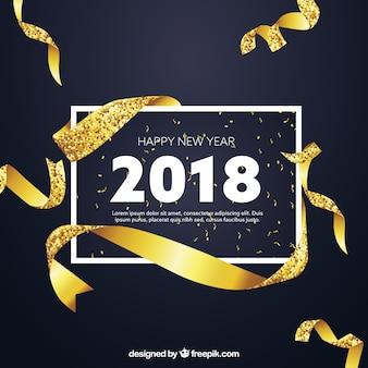 Fundo dourado de ano novo com estilo realista