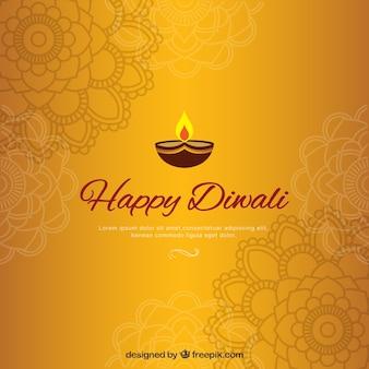 Fundo dourado de diwali com mandalas