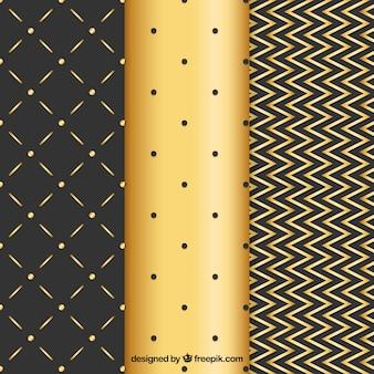 Fundo dourado elegante de linhas e pontos