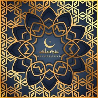 fundo dourado padrão com forma islâmico