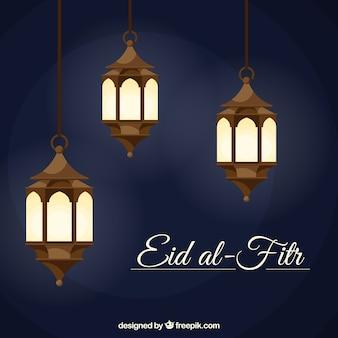 Fundo Eid al-Fitr com lanternas