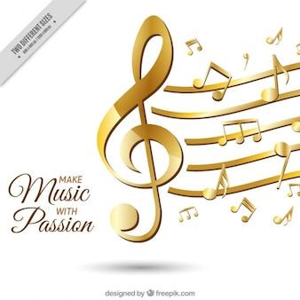 Fundo elegante com notas musicais douradas