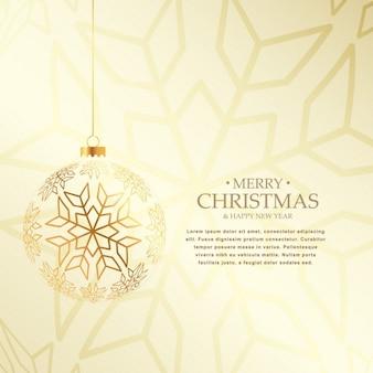 Fundo elegante do Natal com suspensão de bola dourada feita com snaowflakes
