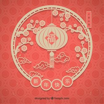 Fundo elegante lanterna chinesa