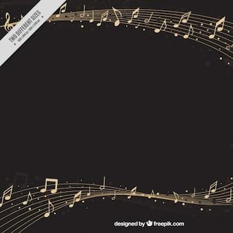 Fundo elegante pentagrama com notas musicais