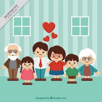 Fundo encantador de crianças com pais e avós