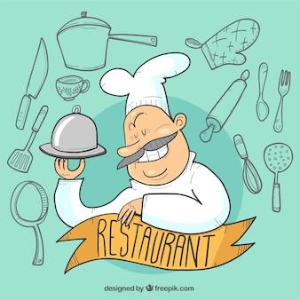 Fundo engraçado do restaurante