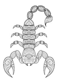 Fundo escorpião desenhado a mão