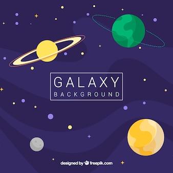 Fundo espacial com estrelas e planetas