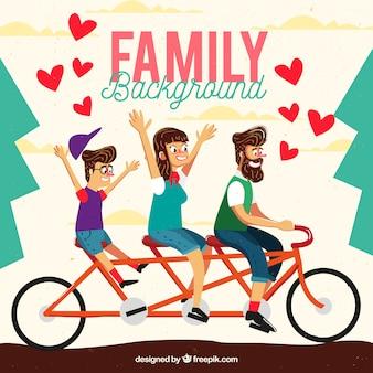 Fundo familiar em uma bicicleta no design vintage