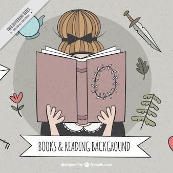 Fundo fantástico da menina que lê um livro no estilo do vintage