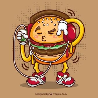 Fundo fantástico do caráter engraçado do hamburguer