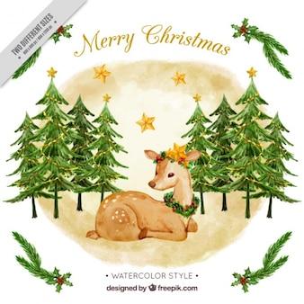 Fundo Fawn com árvores de Natal da aguarela