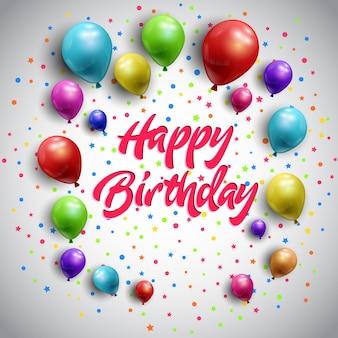 Fundo feliz aniversário com balões coloridos