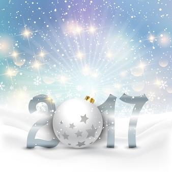 Fundo feliz Ano Novo com bolas e neve